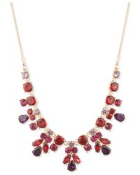 Nine West - Metallic Gold-tone Multi-stone Drama Necklace - Lyst