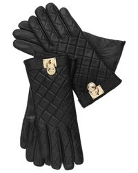 Michael Kors | Black Tech Touch Quilted Leather Hamilton Lock Gloves | Lyst