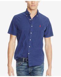 Polo Ralph Lauren - Blue Men's Short-sleeve Silk Shirt for Men - Lyst