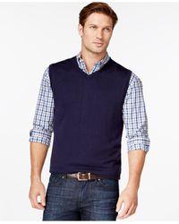 Cutter & Buck   Blue Douglas V-neck Sweater Vest for Men   Lyst