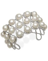 Macy's | Metallic Cultured Freshwater Button Pearl Cuff Bracelet (9mm) In Sterling Silver | Lyst
