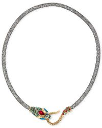 Betsey Johnson | Multicolor Gold-tone Mesh Crystal Snake Collar Necklace | Lyst