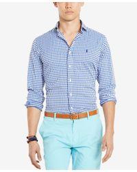 Polo Ralph Lauren - Blue Custom Fit Gingham Long Sleeve Shirt for Men - Lyst