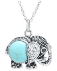 Macy's - Blue Manufactured Turquoise Elephant Necklace In Sterling Silver - Lyst