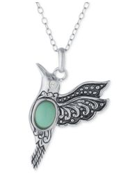 Macy's - Multicolor Manufactured Turquoise Hummingbird Necklace In Sterling Silver - Lyst