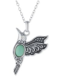 Macy's - Green Manufactured Turquoise Hummingbird Necklace In Sterling Silver - Lyst