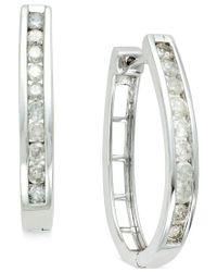 Macy's - Metallic Diamond Channel-set Hoop Earrings (1 Ct. T.w.) In Sterling Silver - Lyst