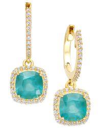 Macy's - Blue Emerald (1-1/2 Ct. T.w.) And Diamond (1/4 Ct. T.w.) Hoop Earrings - Lyst