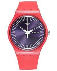 Swatch - Orange Women's Swiss Berry Rail Pink Silicone Strap Watch 41mm Suop702 - Lyst