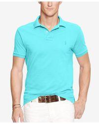 Polo Ralph Lauren   Blue Men's Slim-fit Mesh Polo Shirt for Men   Lyst
