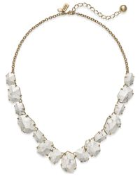kate spade new york - Metallic 12k Gold-plated Faceted Stone Frontal Necklace - Lyst