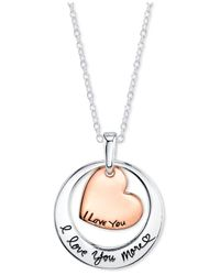 Macy's | Metallic I Love You More Two-tone Pendant Necklace In Sterling Silver | Lyst