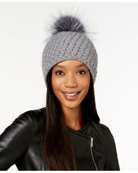 Surell - Blue Acrylic Star Stitched Knit Fox Fur Pom Hat - Lyst
