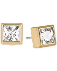 Michael Kors | Metallic Gold-tone Cubic Zirconia Stud Earrings | Lyst