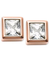 Michael Kors - Metallic Gold-tone Cubic Zirconia Stud Earrings - Lyst