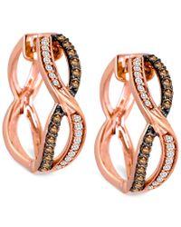 Le Vian | Multicolor Chocolatier Diamond Hoop Earrings (3/8 Ct. T.w.) In 14k Rose Gold | Lyst