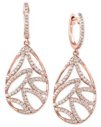 Effy Collection - Pink Diamond Leaf Drop Earrings (3/4 Ct. T.w.) In 14k Rose Gold - Lyst