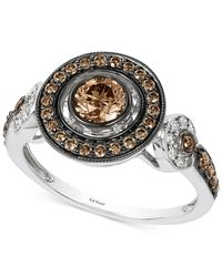 Le Vian | Brown Chocolate And White Diamond Deco Ring (7/8 Ct. T.w.) In 14k White Gold | Lyst