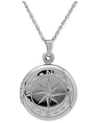 Macy's | Metallic Compass Locket Necklace In Sterling Silver | Lyst