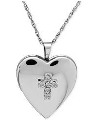Macy's - Metallic Diamond-accent Heart Locket Necklace In Sterling Silver - Lyst