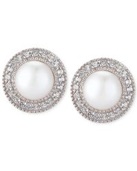 Macy's - Metallic Cultured Freshwater Pearl (7-1/2mm) And White Topaz (1/6 Ct. T.w.) Earrings In Sterling Silver - Lyst