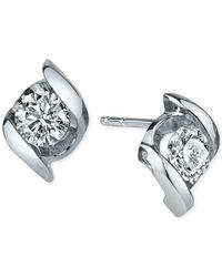Sirena | Diamond Twist Stud Earrings (1/2 Ct. T.w.) In 14k White Gold | Lyst
