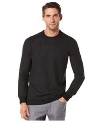 Perry Ellis | Black Textured Crew-neck Sweater for Men | Lyst