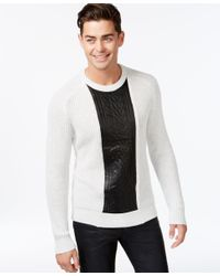 INC International Concepts | Gray Men's Crew-neck Faux-leather Cable-knit Sweater, Only At Macy's for Men | Lyst