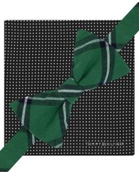 Tommy Hilfiger | Green Window Plaid Pre-tied Bow-tie And Small Dot Pocket Square Set for Men | Lyst