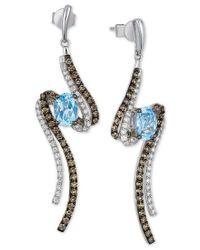 Le Vian | Blue Topaz (1-5/8 Ct. T.w.) And Diamond (1 Ct. T.w.) Drop Earrings In 14k White Gold | Lyst