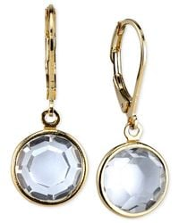 2028 | Metallic Gold-tone Faceted Clear Crystal Drop Earrings | Lyst