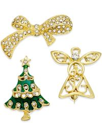 Charter Club - Metallic Gold-tone Set Of 3 Christmas Crystal Pins, Only At Macy's - Lyst
