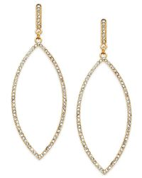 INC International Concepts - Metallic Gold-tone Pave Leaf Drop Earrings, Only At Macy's - Lyst