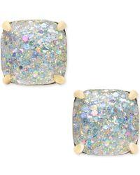 kate spade new york | Metallic 14k Gold-plated Glittery Purple Square Stud Earrings | Lyst
