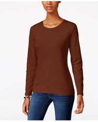 Style & Co. | Brown Crew-neck Top, Only At Macy's | Lyst