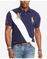 Polo Ralph Lauren - Blue Men's Big & Tall Classic-fit Banner-stripe Polo Shirt for Men - Lyst