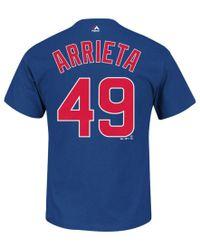 Majestic Filatures Blue Men's Jake Arrieta Chicago Cubs Player T-shirt for men