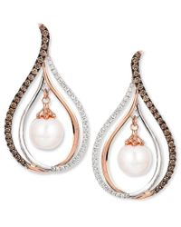 Le Vian | Multicolor Chocolatier Fresh Water Pearl (8mm) And Diamond (7/8 Ct. T.w.) Drop Earrings In 14k White And Rose Gold | Lyst