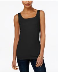 Style & Co. | Black Shelf-bra Tank Top, Only At Macy's | Lyst