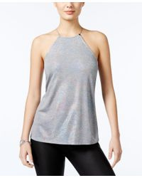 Guess | Gray Metallic Jersey Top | Lyst