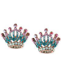 Betsey Johnson | Blue Rose Gold-tone Pavé Crystal Crown Stud Earrings | Lyst