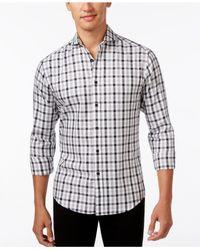 Vince Camuto | White Men's Plaid Long-sleeve Shirt for Men | Lyst