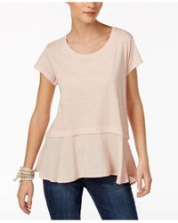 Style & Co. | Natural Layered-look Peplum T-shirt, Only At Macy's | Lyst