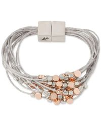 Kenneth Cole - Gray Two-tone Beaded Multi-layer Bracelet - Lyst