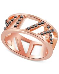 T Tahari | Pink Rose Gold-tone Pave Crystal Cut-out Ring | Lyst
