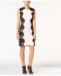 Betsey Johnson | Black Textured Floral-panel Sheath Dress | Lyst
