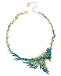 Betsey Johnson | Gold-tone Blue And Green Pave Bird Statement Necklace | Lyst