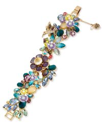 Betsey Johnson | Metallic Gold-tone Multi-stone Flower Bracelet | Lyst