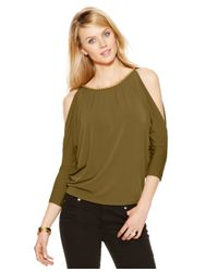 Michael Kors | Natural Michael Cold-shoulder Chain-link Top | Lyst