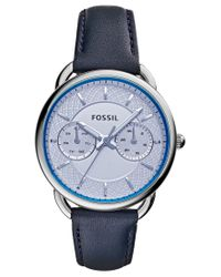 Fossil - Women's Tailor Blue Leather Strap Watch 34mm Es3966 - Lyst